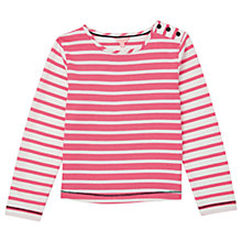 Buy Jigsaw Girls' Breton Stripe Button T-Shirt, Coral Blush Online at johnlewis.com