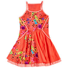 Buy Angel & Rocket Girls' Striped Trim Floral Sun Dress, Orange Online at johnlewis.com
