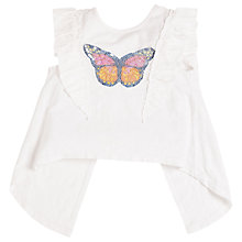 Buy Angel & Rocket Girls' Sequin Ruffle Shoulder Top, White Online at johnlewis.com