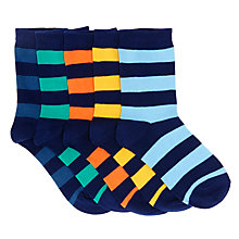 Buy John Lewis Children's Rugby Stripe Socks, Pack of 5, Multi Online at johnlewis.com