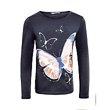 Buy John Lewis Girls' Butterfly Long Sleeve Top, Charcoal Online at johnlewis.com