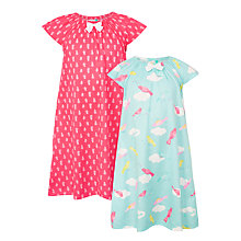 Buy John Lewis Children's Bird Print Nightdress, Pack of 2, Coral/Aqua Online at johnlewis.com
