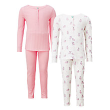 Buy John Lewis Children's Bunny Rabbit Print Pyjamas, Pack of 2, Pink/White Online at johnlewis.com