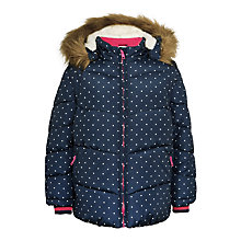 Buy John Lewis Girls' Fleece Lined Spot Coat, Navy Online at johnlewis.com