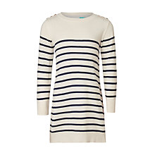 Buy John Lewis Girls' Stripe Longline Jumper, White/Blue Online at johnlewis.com