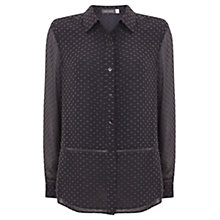Buy Mint Velvet Dobby Blouse, Carbon Grey Online at johnlewis.com