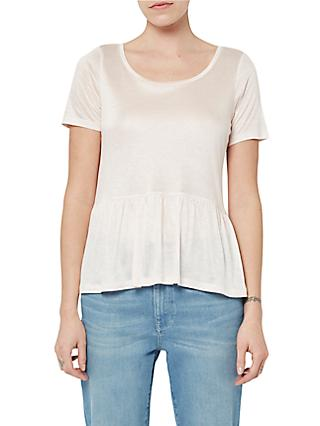 French Connection Miro Mercerised Jersey Peplum Top