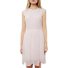 Buy Ted Baker Vienne Embellished Scallop Hem Dress, Baby Pink Online at johnlewis.com