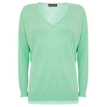 Buy Mint Velvet V-Neck Side Split Linen Knit Jumper, Green Online at johnlewis.com