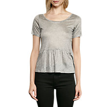 Buy French Connection Miro Mercerised Jersey Peplum Top, Mid Grey Melange Online at johnlewis.com
