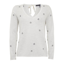 Buy Mint Velvet Embroidered Star Knitted Top, White Online at johnlewis.com
