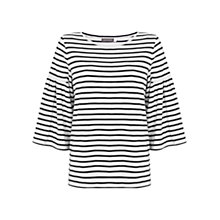 Buy Mint Velvet Striped Fluted Sleeve T-Shirt, Navy/Ivory Online at johnlewis.com