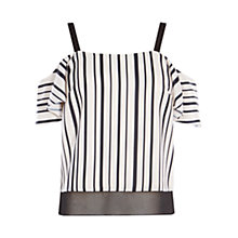 Buy Coast Jerry Stripe Cold Shoulder Top, Black/White Online at johnlewis.com
