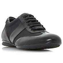 Buy Dune Tobias Mixed Material Lace-Up Trainers, Black Online at johnlewis.com