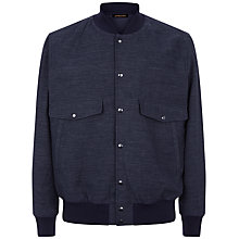 Buy Jaeger Chambray Bomber Jacket, Blue Online at johnlewis.com