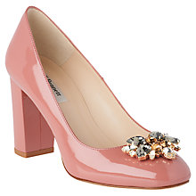 Buy L.K. Bennett Tonnia Jewelled Block Heeled Court Shoes, Dark Pink Online at johnlewis.com