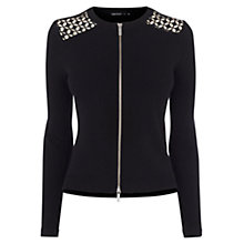 Buy Karen Millen Graphic Lace Panel Cardigan, Black Online at johnlewis.com