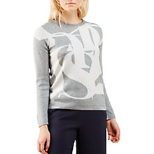 Buy Jigsaw Embossed Letter Jumper, Pale Grey Online at johnlewis.com