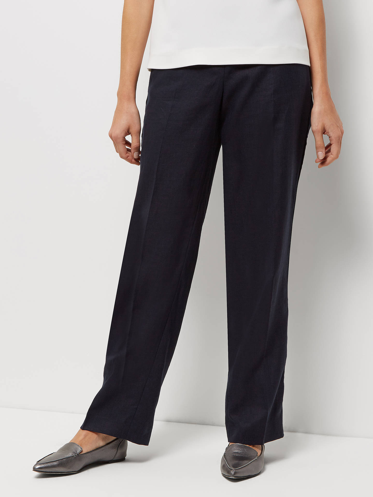 fb6bebe61e Jaeger Parallel Linen Trousers at John Lewis   Partners