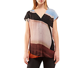 Buy Jigsaw Deconstructed Typo Silk Blouse, Scarlet Online at johnlewis.com
