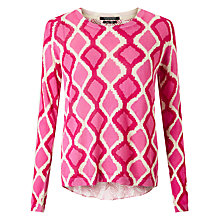 Buy Maison Scotch Printed Linen-Blend Jumper, Pink Online at johnlewis.com