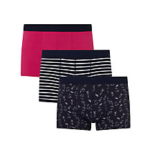 Buy John Lewis Hare Stripe Trunks, Pack of 3, Navy Online at johnlewis.com