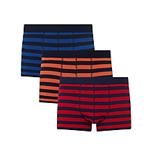 Buy John Lewis Rugby Stripe Trunks, Pack of 3, Blue/Orange/Red Online at johnlewis.com