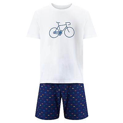 John Lewis Bike T-Shirt and Shorts Lounge Gift Set, White/Navy