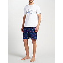 Buy John Lewis Bike T-Shirt and Shorts Lounge Gift Set, White/Navy Online at johnlewis.com