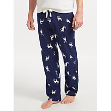 Buy John Lewis Stag Print Brushed Lounge Pants, Blue Online at johnlewis.com
