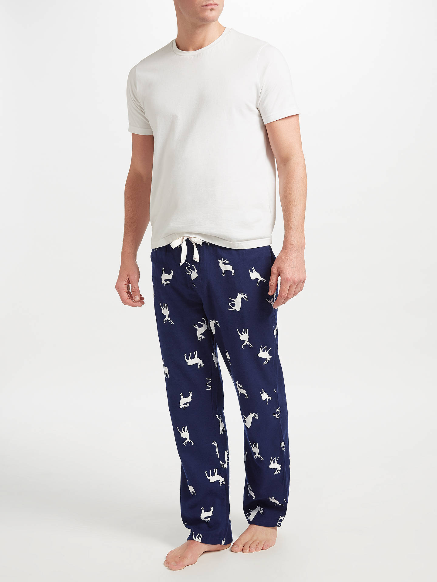 BuyJohn Lewis Stag Print Brushed Lounge Pants, Blue, S Online at johnlewis.com