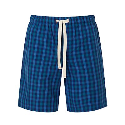 John Lewis Gingham Check Lounge Shorts, Blue
