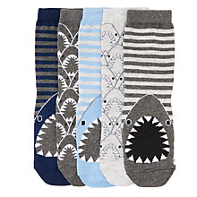 Buy John Lewis Children's Shark Print Socks, Pack of 5, Blue Online at johnlewis.com