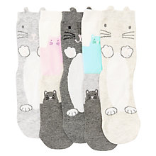 Buy John Lewis Children's Pastel Cat Socks, Pack of 5, Multi Online at johnlewis.com