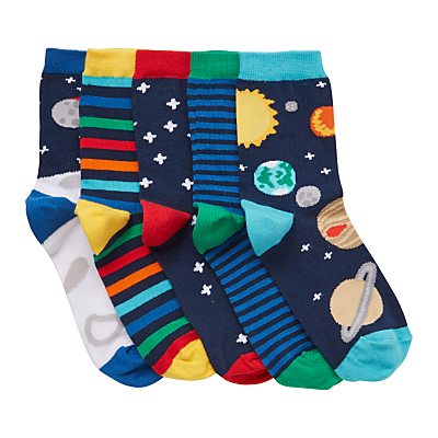 Product photo of John lewis children s space socks pack of 5 multi
