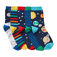 Buy John Lewis Children's Space Socks, Pack of 5, Multi Online at johnlewis.com