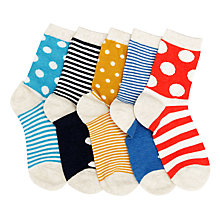 Buy John Lewis Children's Stripe and Dot Socks, Pack of 5, Multi Online at johnlewis.com