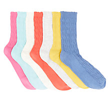 Buy John Lewis Children's Cable Socks, Pack of 7, Multi Online at johnlewis.com