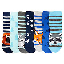 Buy John Lewis Children's Woodland Animal Socks, Pack of 7, Blue Online at johnlewis.com
