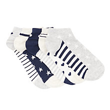 Buy John Lewis Children's Pattern Trainer Socks, Pack of 5, Multi Online at johnlewis.com