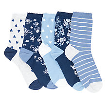 Buy John Lewis Children's Floral Print Socks, Pack of 5, Multi Online at johnlewis.com