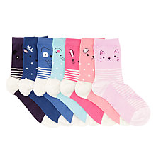 Buy John Lewis Children's Animal Spot and Stripe Print Socks, Pack of 7, Multi Online at johnlewis.com