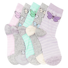 Buy John Lewis Children's Pastel Butterfly Socks, Pack of 5, Multi Online at johnlewis.com