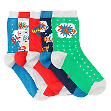 Buy John Lewis Children's Comic Strip Socks, Pack of 5, Multi Online at johnlewis.com