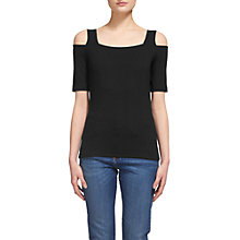 Buy Whistles Cold Shoulder Jersey Top, Black Online at johnlewis.com