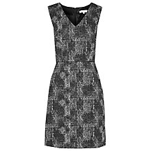 Buy Reiss Enni Jacquard Fit And Flare Dress, Black Online at johnlewis.com