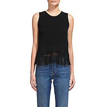 Buy Whistles Fringe Detail Vest, Black Online at johnlewis.com