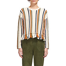 Buy Whistles Fringe Detail Stripe Knit, Multi Online at johnlewis.com
