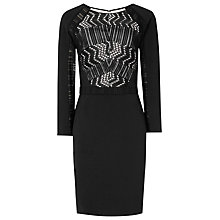 Buy Reiss Libby Lace Panel Dress, Black/Nude Online at johnlewis.com