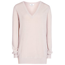 Buy Reiss Savona Metallic V-Neck Jumper, Neutral Online at johnlewis.com